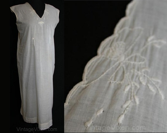 Свадьба - 1920s White Cotton Chemise Nightgown with Shabby Sweet Embroidery - Size 13/14 Bust 40 Large #31876