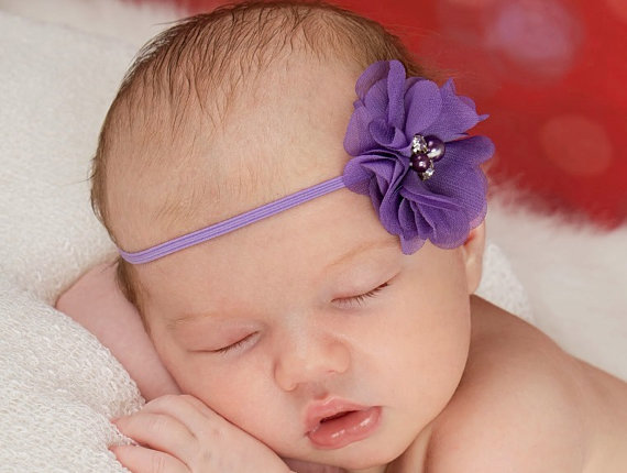 Mariage - Purple Headband, Purple Flower Headband, Newborn Flower Headband, Newborn Photo Prop, Purple Hair Bow, Flower Girl Headband, Baby Headband