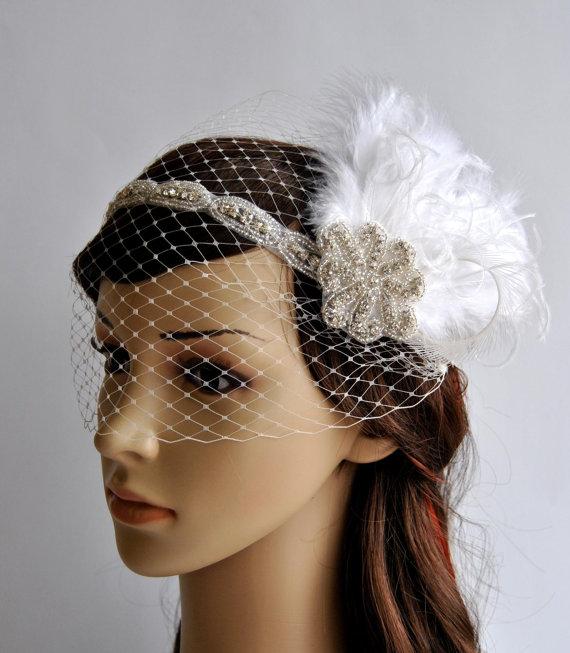 f20eff1514b67 Rhinestone crystal headband headpiece, Bridal Feather Fascinator, 1920s  Headpiece Bridal fascinator headband Wedding bandeau Veil