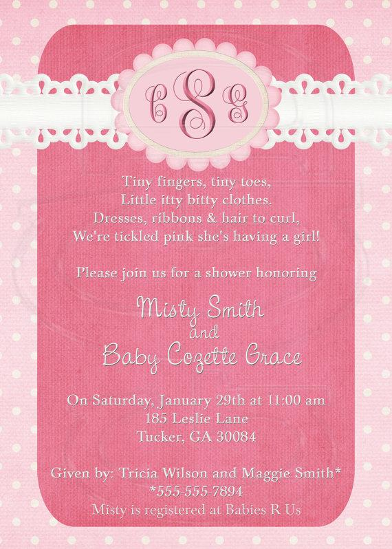 Wedding - Pretty n Pink Baby Shower or Wedding Shower Invitation-Digital File