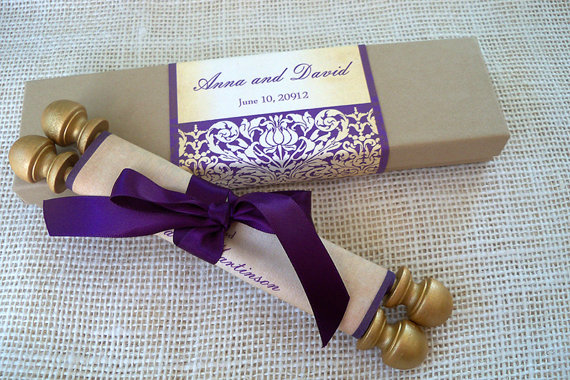 wedding invitation suite fabric scroll with presentation box medieval scroll in gold aubergine and kraft rustic wedding invitation 25 - Medieval Wedding Invitations