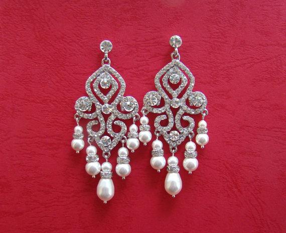 Bridal Chandelier Earrings Swarovski Pearl Rhinestone Crystal Bridesmaids E3077