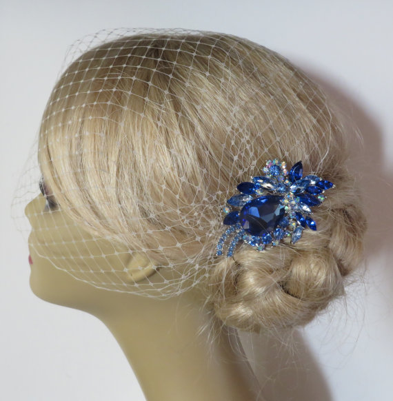 Wedding - Something Blue -  Birdcage Veil  and a Bridal Hair Comb (2 Items) bridal veil bridal headpiece Rhinestone Bridal Hair Comb Weddings