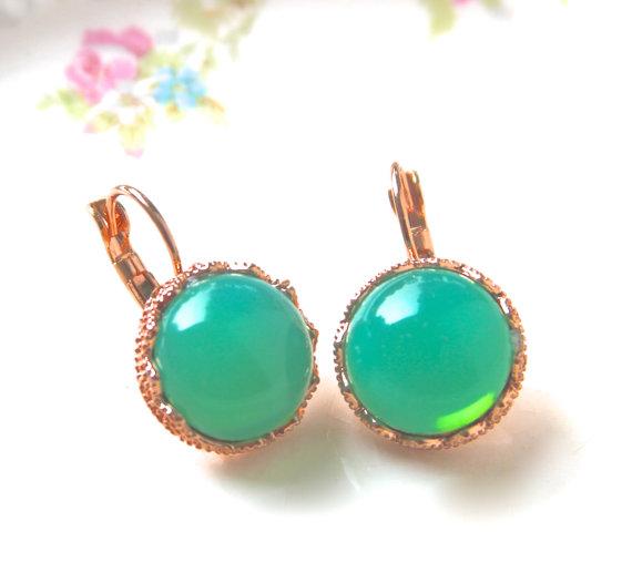 Свадьба - Jade Green Opal Round  Copper Crown Drop Dangle Earrings - Wedding, Bridal, Bride, Bridesmaid, Tropical, Beach