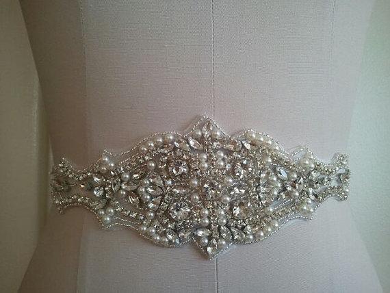 Hochzeit - SALE - Wedding Belt, Bridal Belt, Sash Belt, Crystal Rhinestone & Off White Pearls - Style B200077
