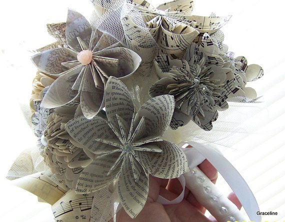 Mariage - Book Page and Sheet Music Keepsake Bouquet - 12 Flowers Plus Added Decor