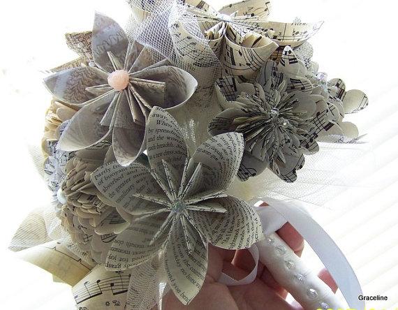 Hochzeit - Book Page and Sheet Music Keepsake Bouquet - 12 Flowers Plus Added Decor