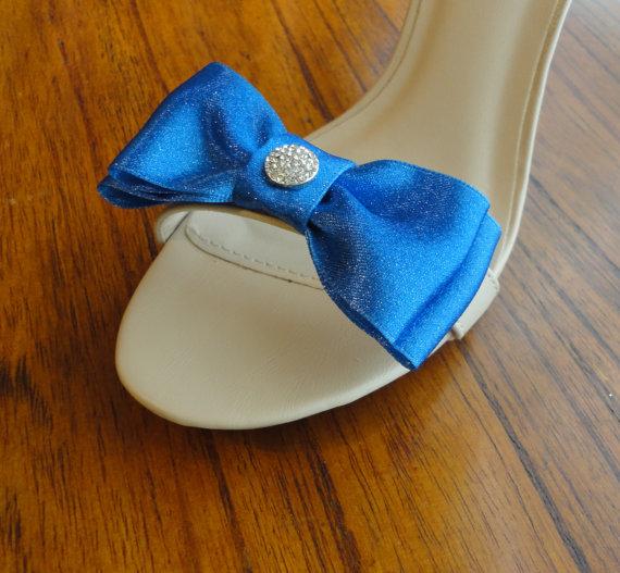 Hochzeit - Blue Glitter Satin Ribbon Bow And Rhinestone Shoe Clips Set Of Two