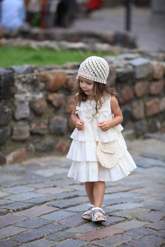 Mariage - Girls ivory dress D23 summer cotton birthday baby infant bow ruffles flower girl dress /hmet/rusteam