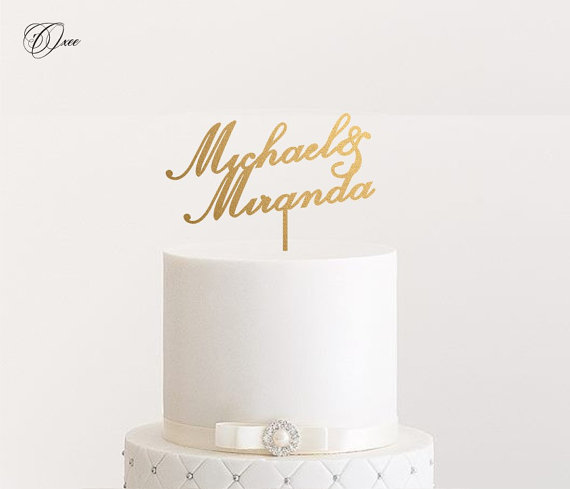 Свадьба - Custom name wedding cake topper by Oxee,personalized cake toppers