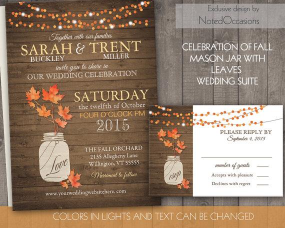 Свадьба - Rustic Fall Wedding Invitations Set