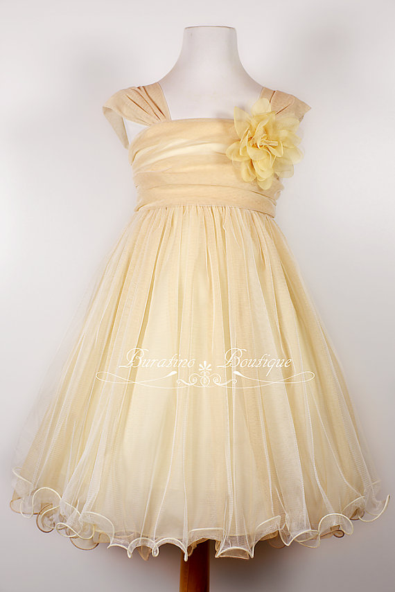 Mariage - Flower Girl Dress, Ivory girls dress, mesh dress, special occasion dress, flower girl dresses (ets0145)