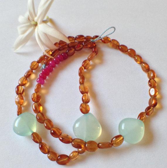 Hochzeit - hessonite garnet, rubies, peruvian aqua chalcedony + silk choker. slow, organic jewelry, unusual bridal jewelry, gemstone stacking necklace.