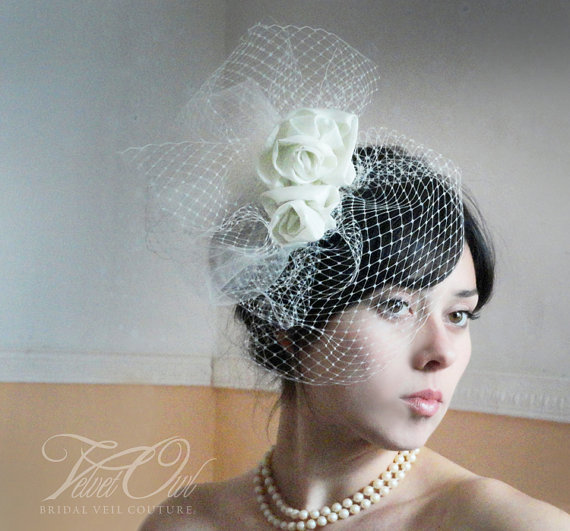 Hochzeit - Couture bridal pouf fascinator comb clip silk taffeta roses and bespoke detachable French netting birdcage veil - CONTESSA