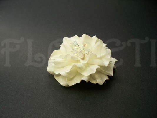Hochzeit - Small Wedding Hair Flower Ivory Gardenia Bridal Hair Clip Veil Accessory -Ready Made