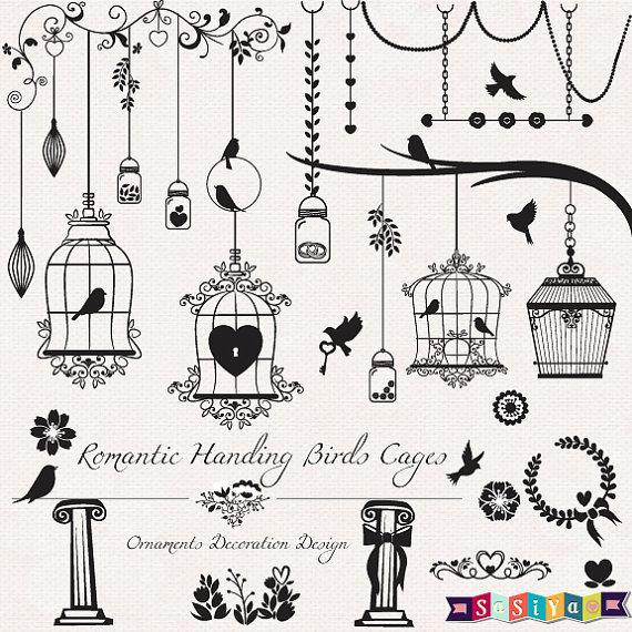 Mariage - Romantic Silhouette Birds Cage Design Decor Shower Invitation Card Elements Digital ClipArt Tags INSTANT DOWNLOAD WS414 Buy 1Get 1 Free