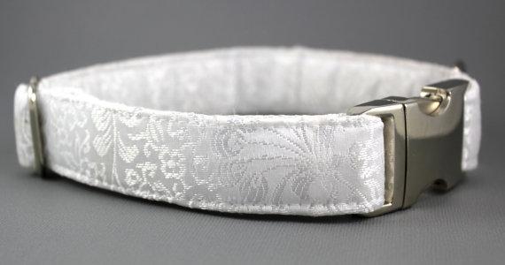 زفاف - Wedding Dog Collar - Satin Finish Jacquard in White or Ivory