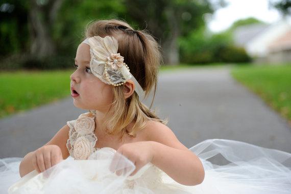 Hochzeit - Lace Headband Flower Girl Headband Christening Baptism Headband Feather Headband fascinator