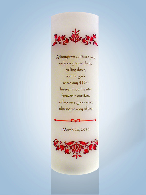 Hochzeit - Personalized Wedding Memorial Candle with Red Scroll