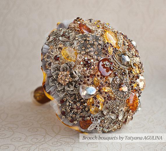 Hochzeit - Ready to ship! Fall Wedding Brooch bouquet. Bridal bouquet.