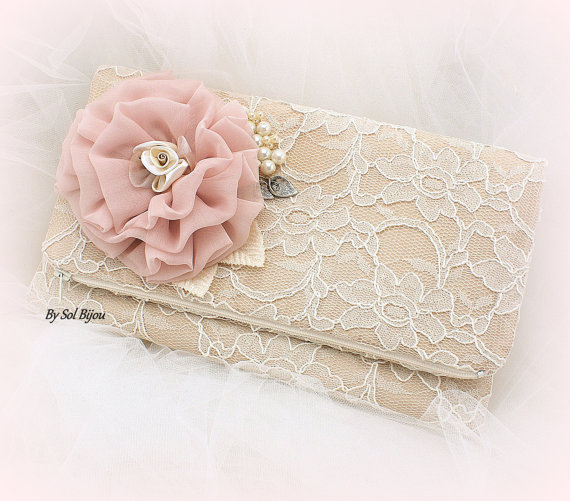 Mariage - Lace Clutch, Bridal, Wedding, Handbag, Mother of the Bride, Champagne, Tan, Ivory, Rose, Blush, Rose Gold with Pearls