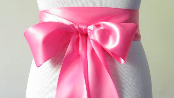 Mariage - Bubblegum Pink Ribbon Sash / Double Faced Ribbon Sash / Bridal Sash/Bridal  / Bubblegum Pink