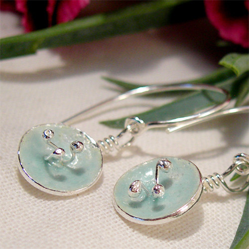 Mariage - Enamel Poppy Jewelry, Poppy Earrings, Duck Egg Blue Enamel Earrings, Enamel Jewelry, Sterling Silver Flower Dangle Earrings, Aqua Blue Glass