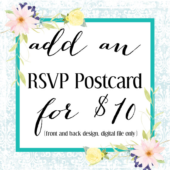 Wedding - Wedding Invitation RSVP Postcard Add On, Front and Back Custom RSVP Photo Postcard, Add On To Any Wedding Invitation Purchase