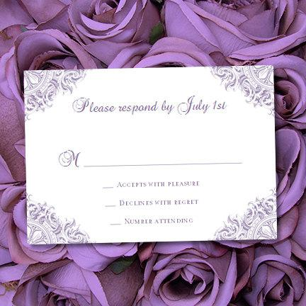 """Wedding - RSVP Card """"Vintage"""" Purple Lavender Printable Response Template Word.doc w. Editable Text Instant Download ALL COLORS Available You Print"""
