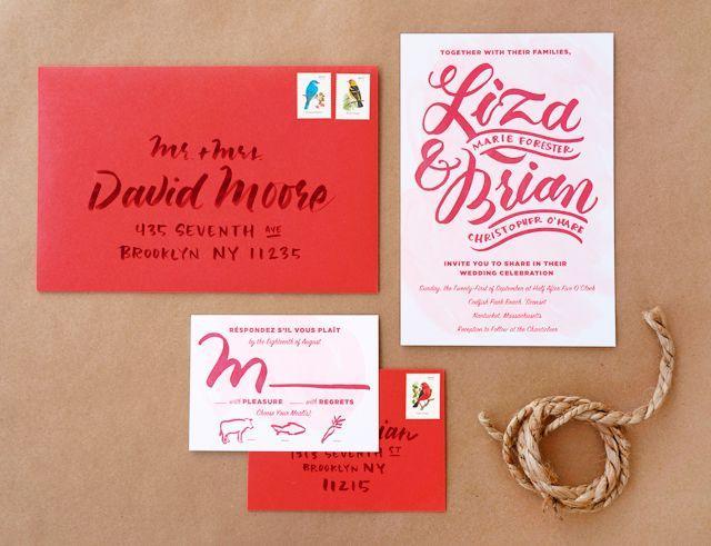 Свадьба - Liza   Brian's Casual Brush Lettered Wedding Invitations