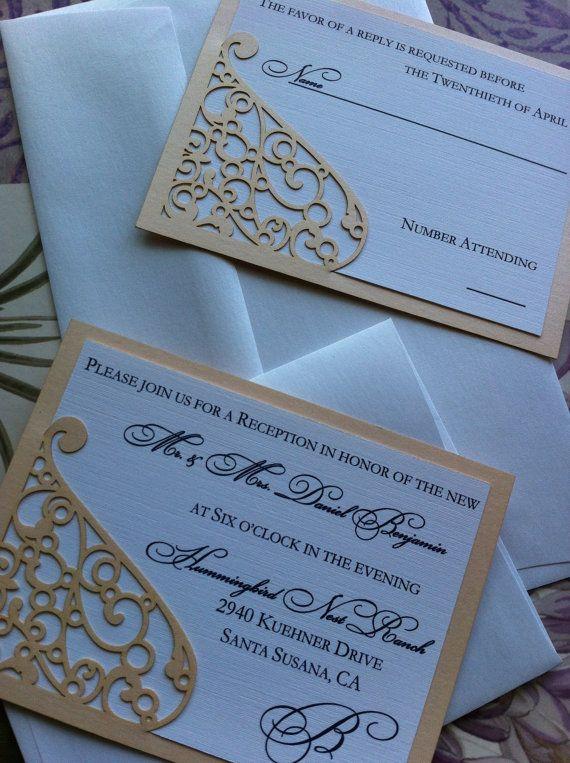 lasercut wedding invitation sleeve pocket elegant swirl pattern