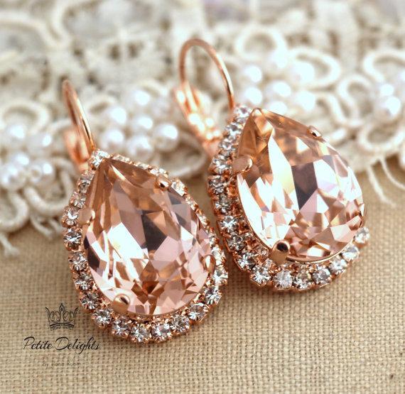 Wedding - Blush Pink teardrop Earrings,Blush Rose Gold Drop Earrings, Bridal earrings,Bridal Crystal earrings,Blush Dangle earrings Silver earrings
