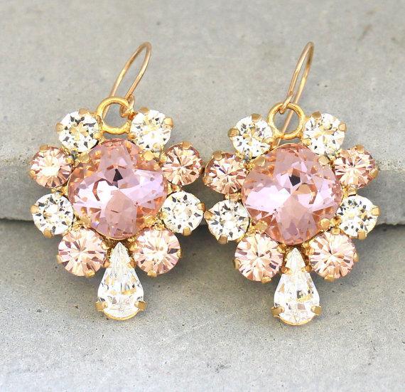 Blush Crystal Bridal Earrings Swarovski Pink Drop Bridesmaids Dangle
