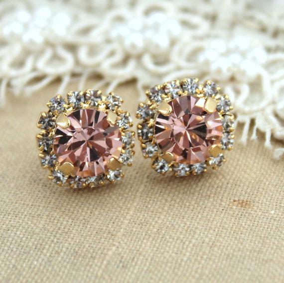 Blush Pink Arrings Stud Swarovski Earrings Vintage Rose Peach Bridesmaids Jewelry Bridal Light Studs