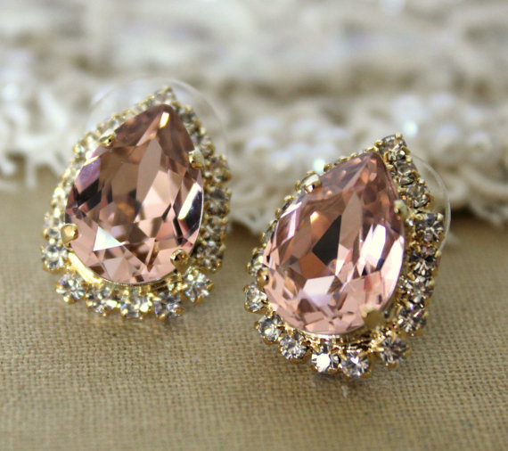 Blush Pink Earrings Crystal Swarovski Vintage Pinkteardrop Stud Bridal Bridesmaids Studs