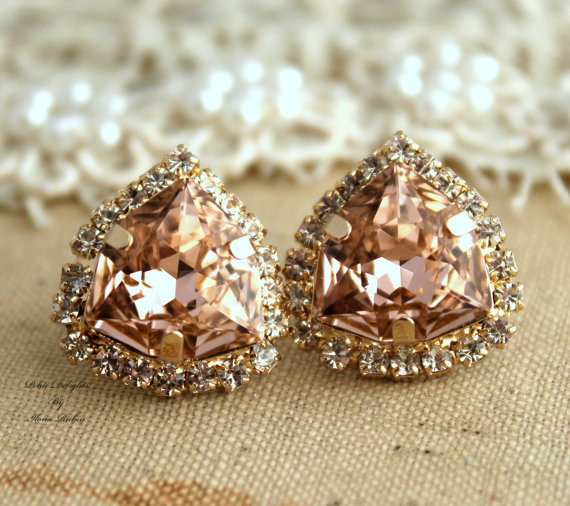 Wedding - Pink Blush Earrings,Crystal Vintage Pink stud earring bridesmaids gifts bridal earrings, 14k 1 micron Thick Gold plated swarovski earrings