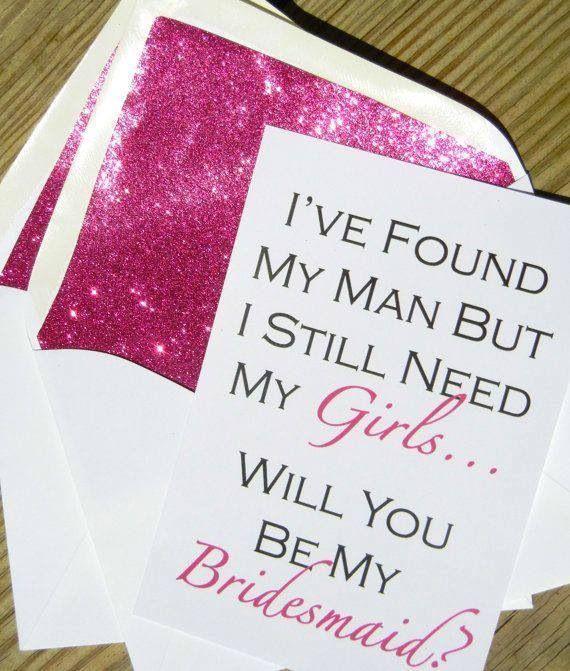 Свадьба - Be My Bridesmaid Card // Fuchsia Glitter Liner // White Envelope // Size A7