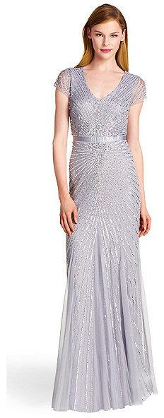 Mariage - Adrianna Papell Cap Sleeve Beaded A-Line Gown