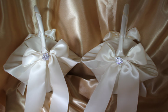 Hochzeit - 2-Ivory Satin Flower Girl Baskets Ivory Satin Ribbons Pearls and Rhinestone Accent-Large Basket-CUSTOM COLORS
