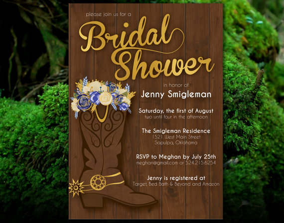 Mariage - PRINTABLE Western Bridal Shower Invitation - Flowers & Cowboy Boots