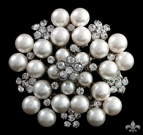زفاف - Pearl Rhinestone Brooch Pin - Pearl Brooch - Rhinestone Brooch - Rhinestone Crystal Brooch - Pearl Flower Brooch