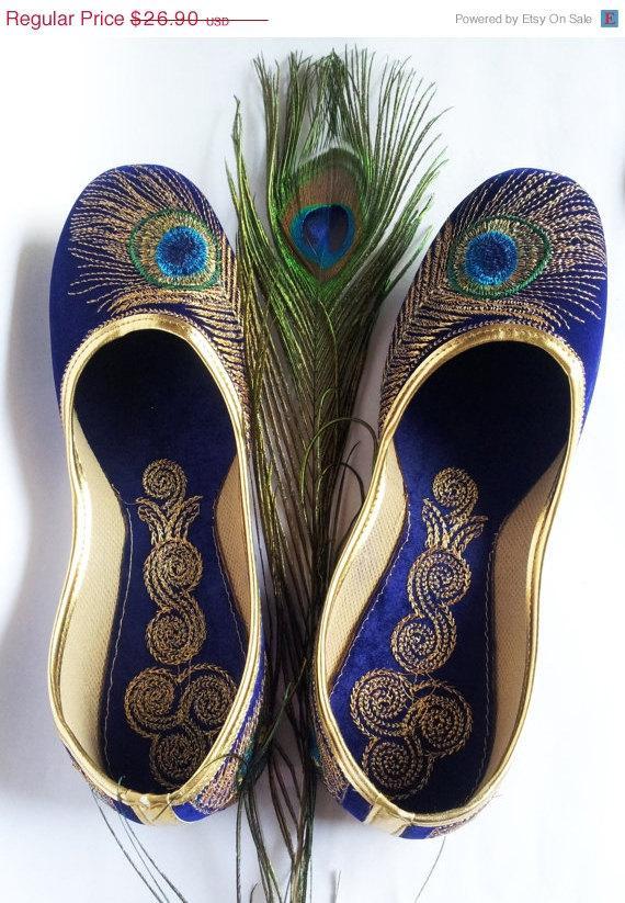 زفاف - 15%Summer Celebrations US Size 10/Blue shoes/Velvet Shoes/Gold Embroidered Designer Shoes/Blue Ballet Flats/Women Shoes/Wedding Shoes//Roya