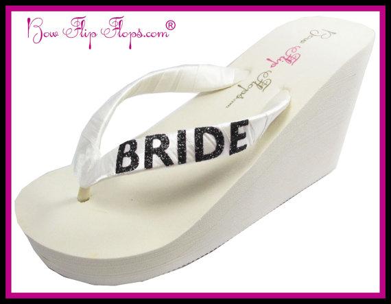 793ae02db9bf4b Bride Glitter Flip Flops Ivory Wedding Shoes Wedge Bridal White Glitter  Satin Wedding platform heel Bling Ribbon brides bridesmaids