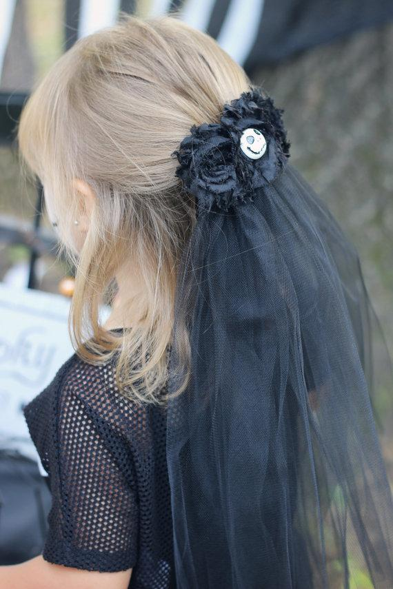 Black Wedding Veil Bachelorette Clip On Zombie Bride Costume Nightmare Before Christmas