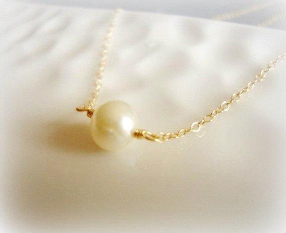 "زفاف - infinity - freshwater pearl solitaire - 14k gold filled chain - lovely bridal gifts - up to 22"" - simple classic jewelry"