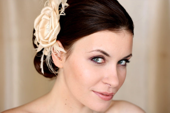 Mariage - BIRDCAGE VEIL vintage style wedding headdress. Champagne , nude wedding hat,bridal hat. Amazing fascinator, hair flower
