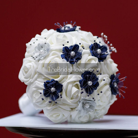 Navy Blue And Silver Small Wedding Bouquet For Bridesmaids Or Maid Of Honor White Roses Pearl Flowers