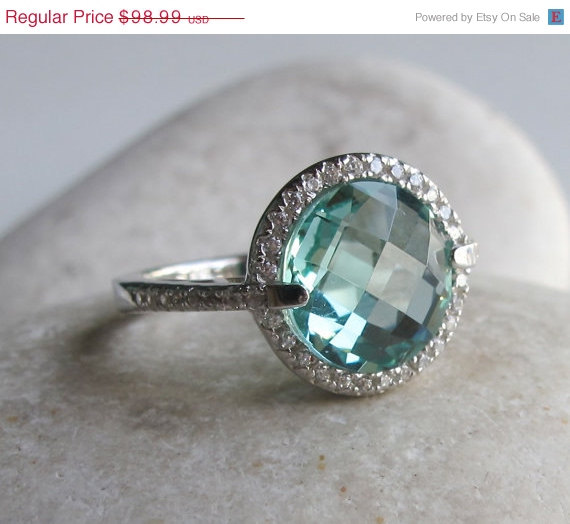 Sale London Blue Engagement Ring Halo Ring Blue Topaz Ring Halo