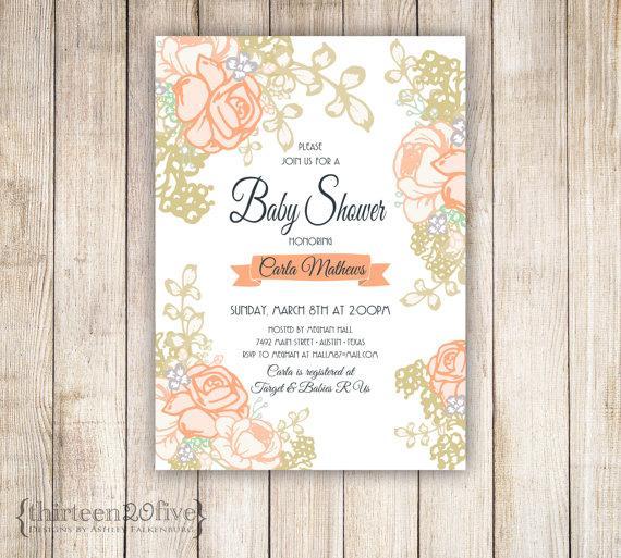 زفاف - Peachy Rose and Gold Baby Shower Custom Invitations