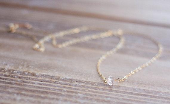 Hochzeit - Herkimer Diamond Necklace - Gold or Silver - Layering Necklace - Tiny Diamond Necklace - Simple Necklace - April Birthstone - Bridal Jewelry